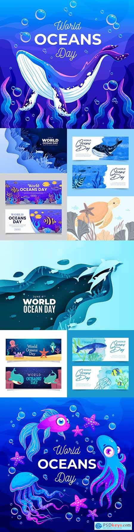 World ocean day with marine dwellers cartoon illustrations
