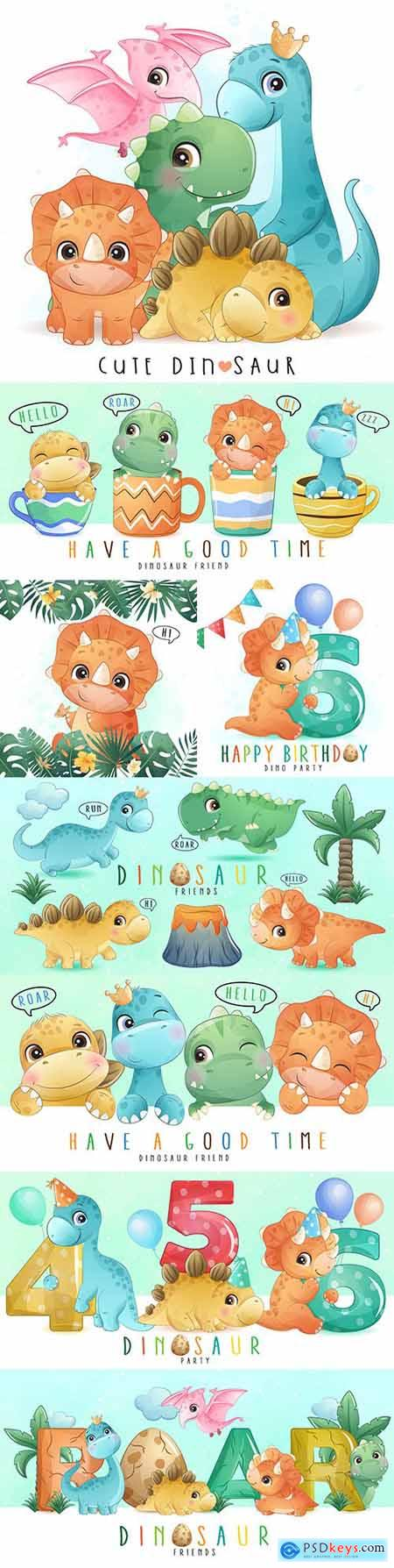 Cute little dinosaur watercolor illustrations collection