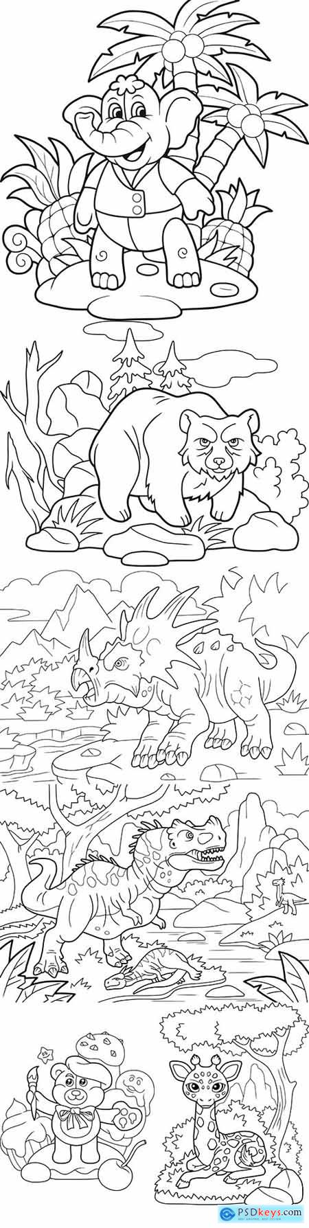 Cute Animals and Nature Illustrations for Coloring Book