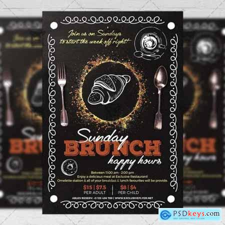 Sunday Brunch Happy Hours Flyer - Food A5 Template