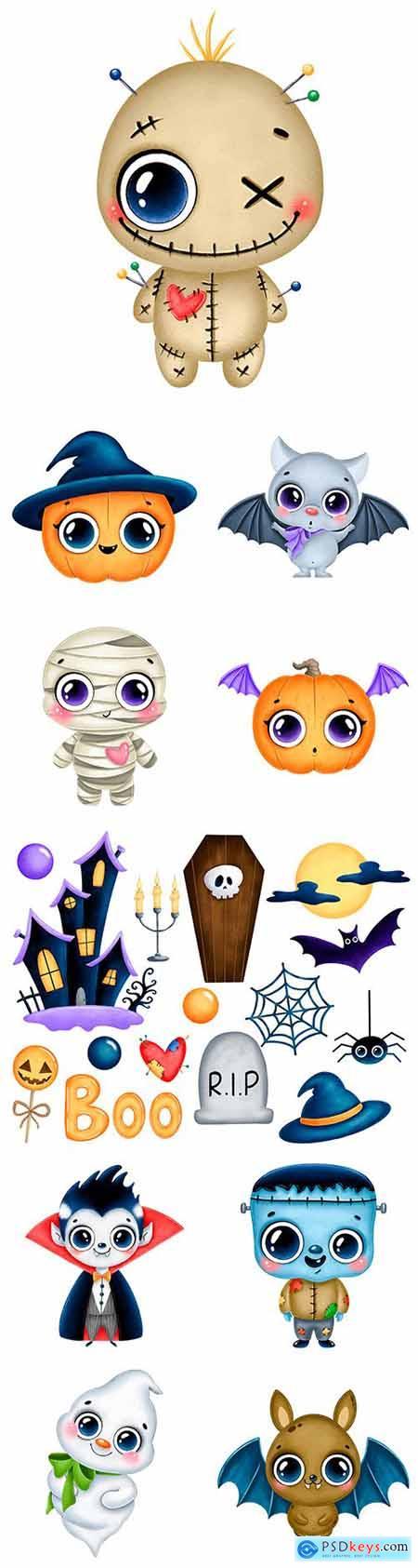 Halloween holiday illustration cute cartoon character