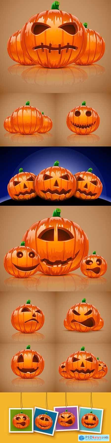 Halloween orange Pumpkin cartoon emotions illustration