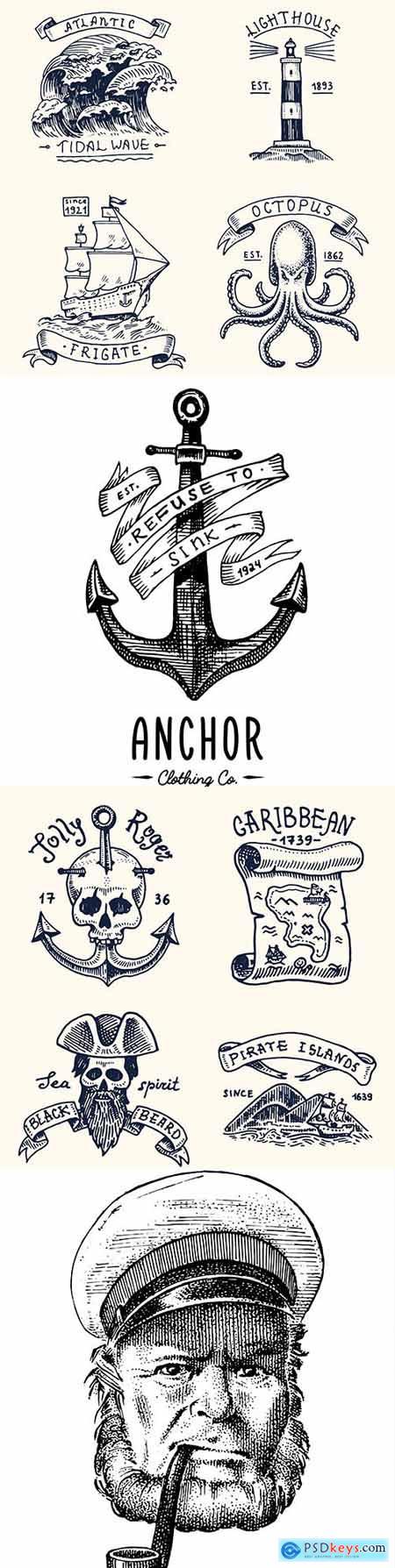 Marine elements engraved vintage stickers and badges design