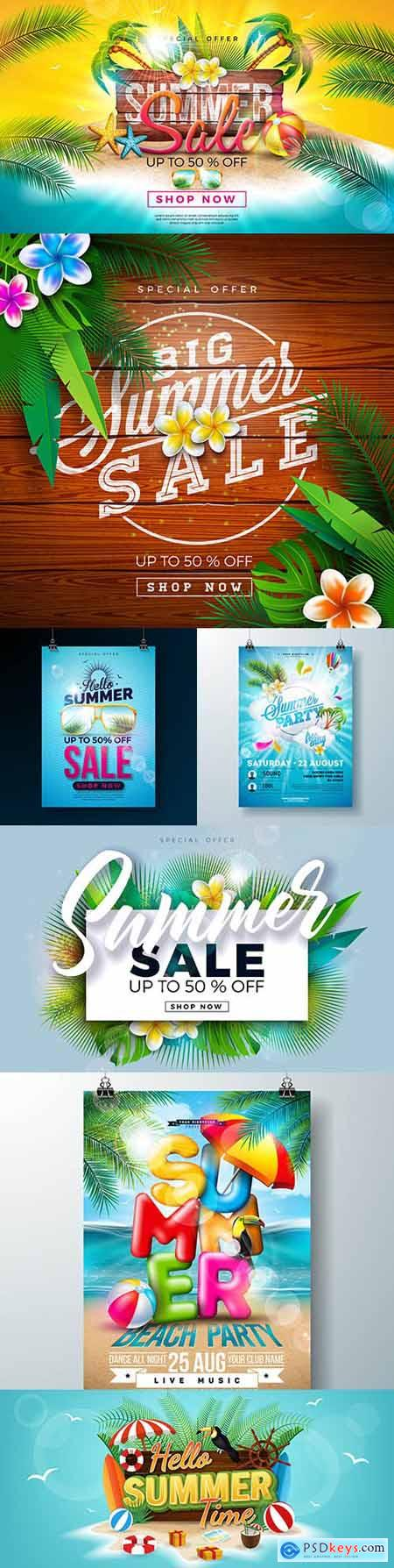 Summer sale with flower and exotic palm leaves