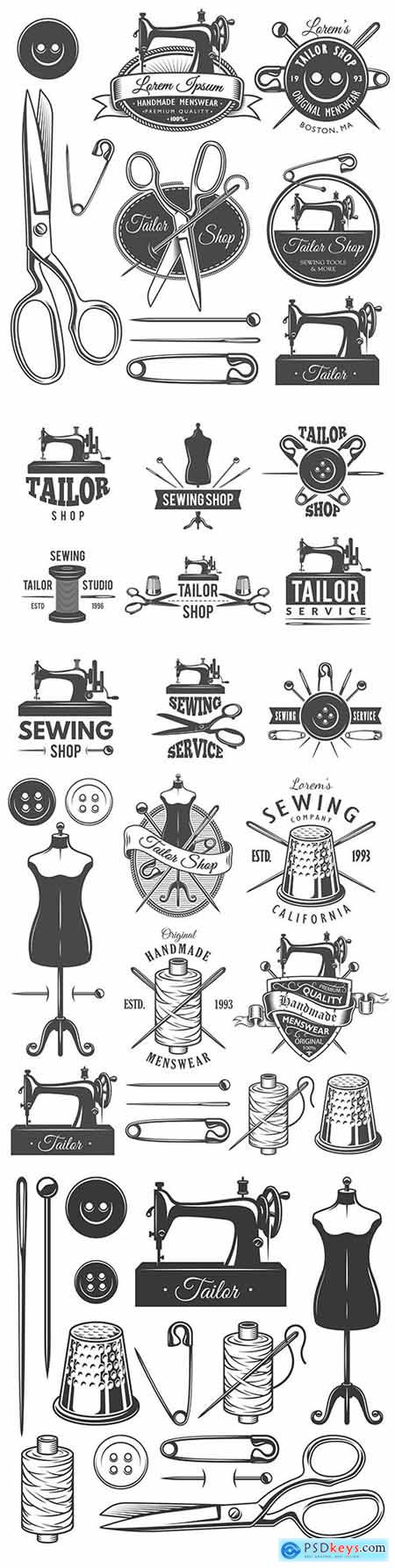 Tailor old monochrome elements and emblems vintage