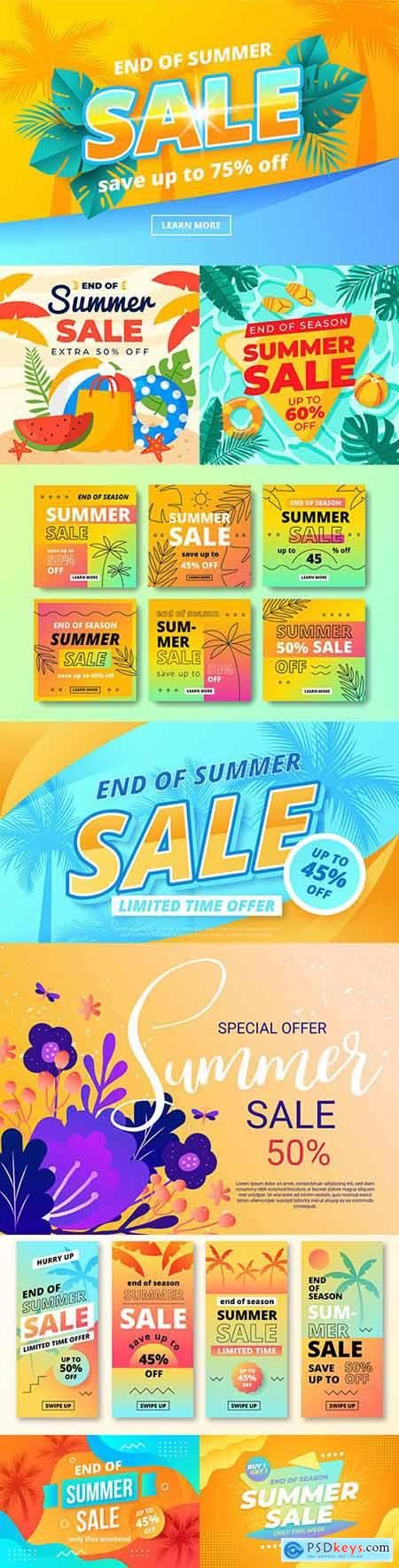 Summer sale at the end of season design flat style
