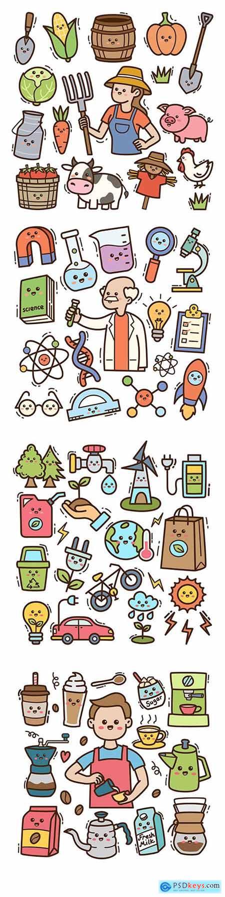 Medicine, ecology and gardening cartoon illustrations