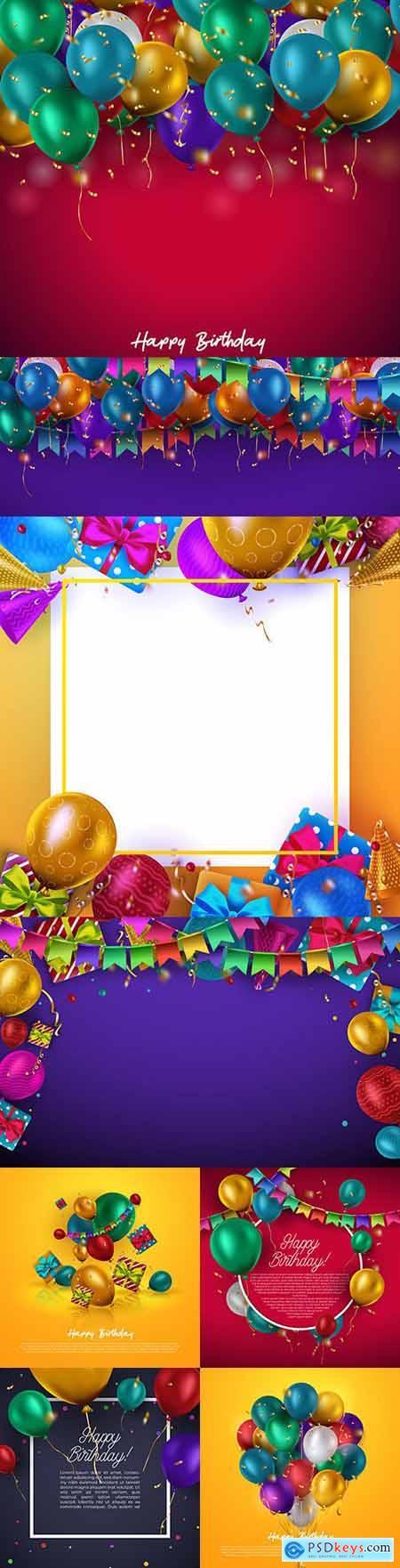 Happy birthday holiday invitation realistic balloons 16