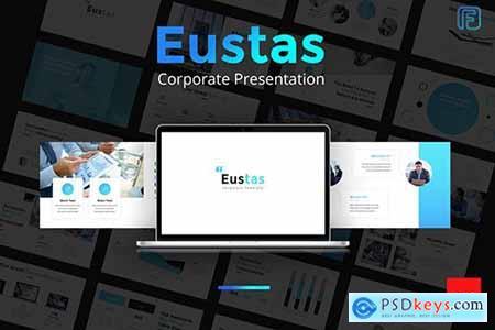 Eustas Blue Business Powerpoint, Keynote and Google Sliders