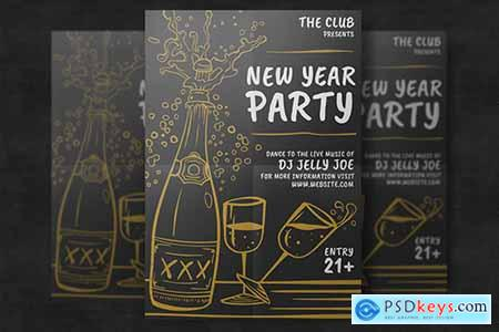 Hand-Drawn New Year Party Template