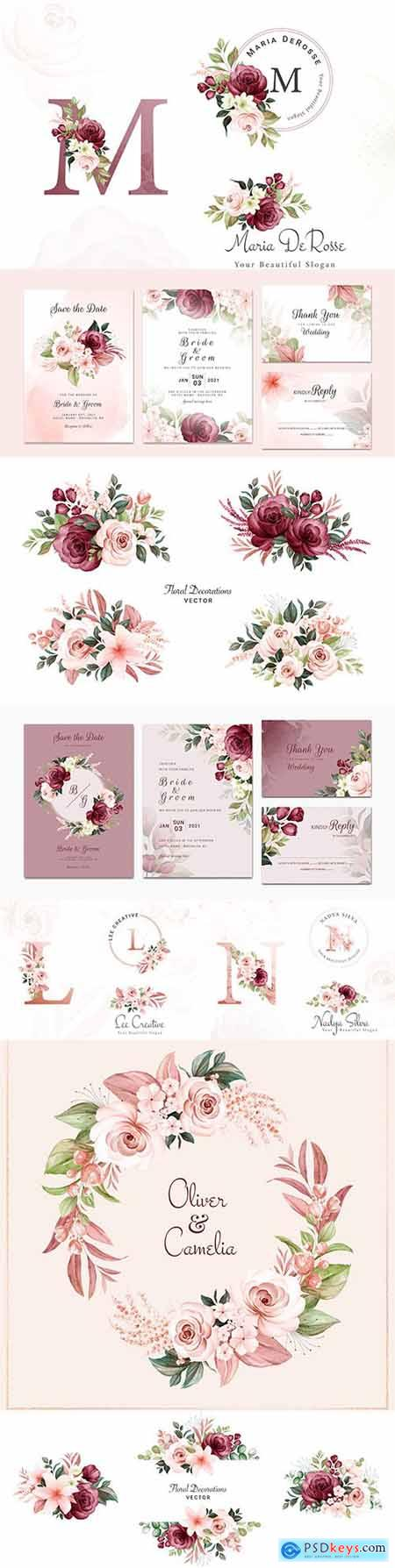 Wedding invitation template watercolor flower and green leaves 7