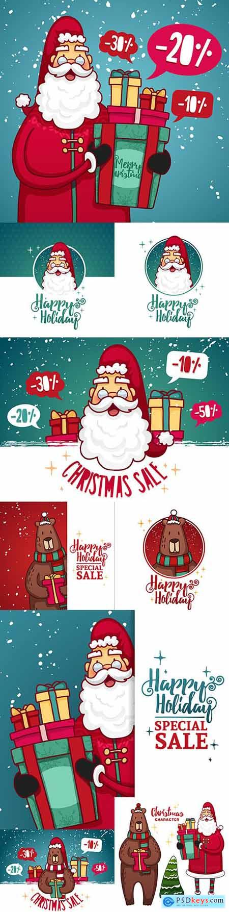 Banner for Christmas with Santa and bear design template