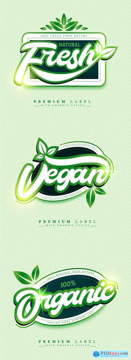Sticker label fresh and organic food premium design