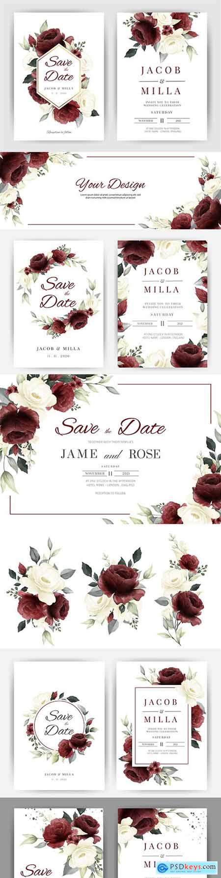 Wedding invitation template watercolor flower and green leaves 8