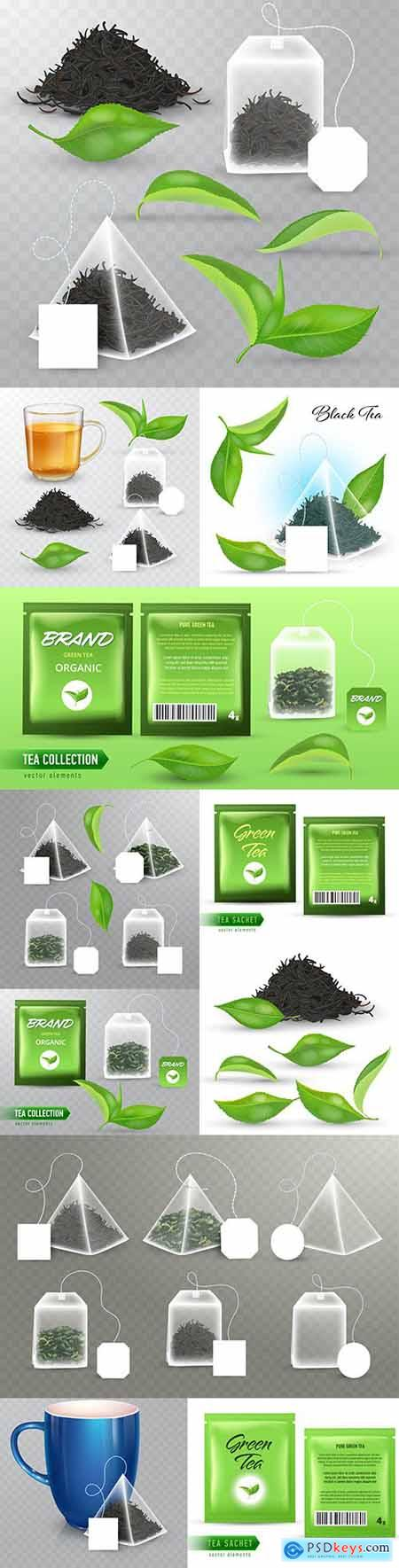 Green and black tea pyramidal bag and realistic leaves