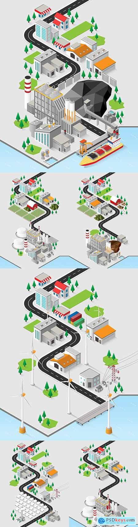 Diesel energy and diesel power plant with isometric graphics