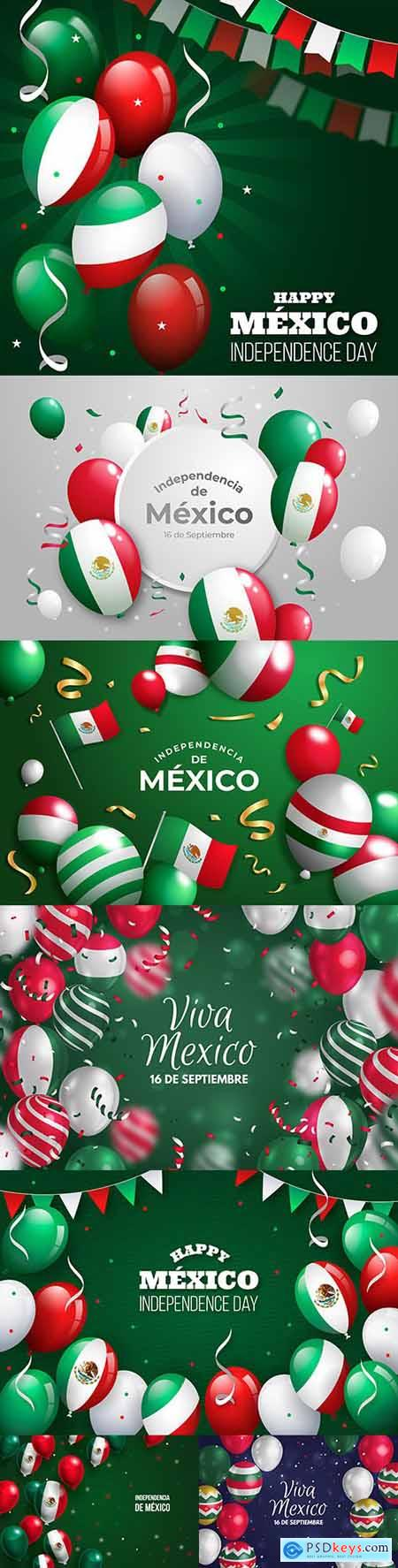 Mexican Independence Day realistic background with balloons