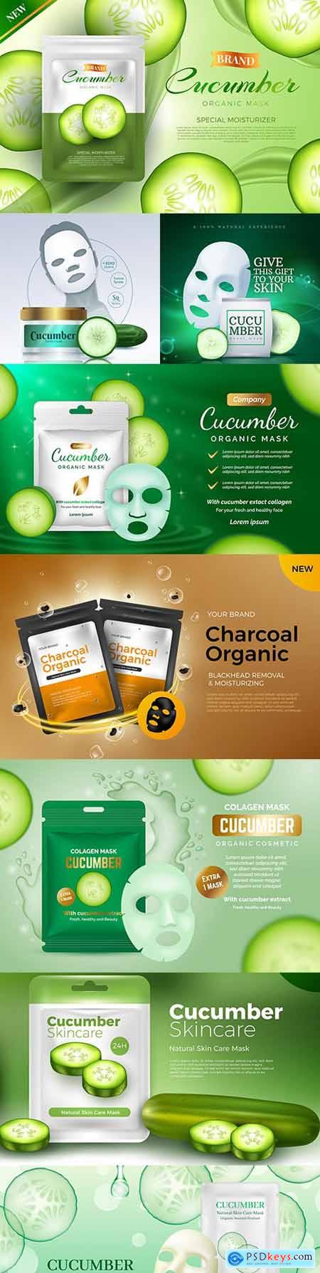 Realistic cucumber sheet mask design template