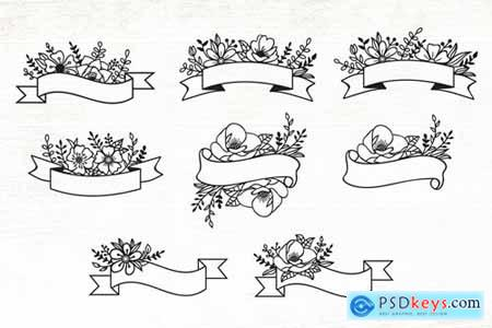 Floral Ribbon Banner Design Elements