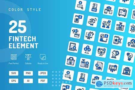 Fintech Element Color Icons
