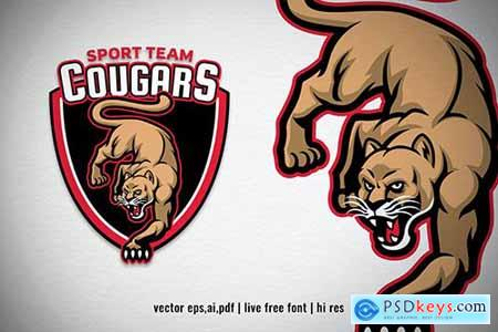Cougar mascot sport and esport logo