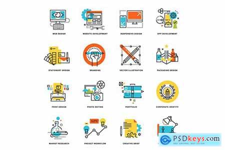 Set of Flat Line Design Icons