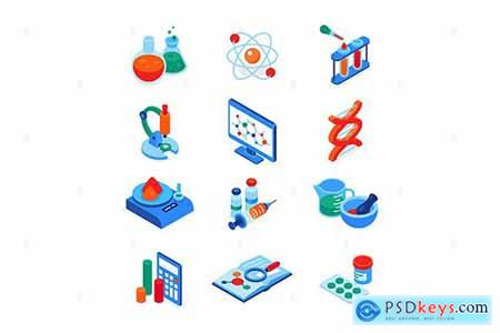 Science and medicine - colorful isometric icons