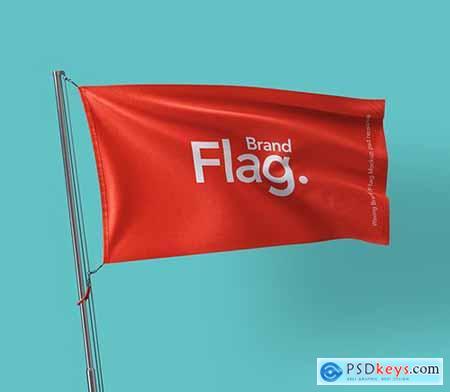 Waving Brand Psd Flag Mockup