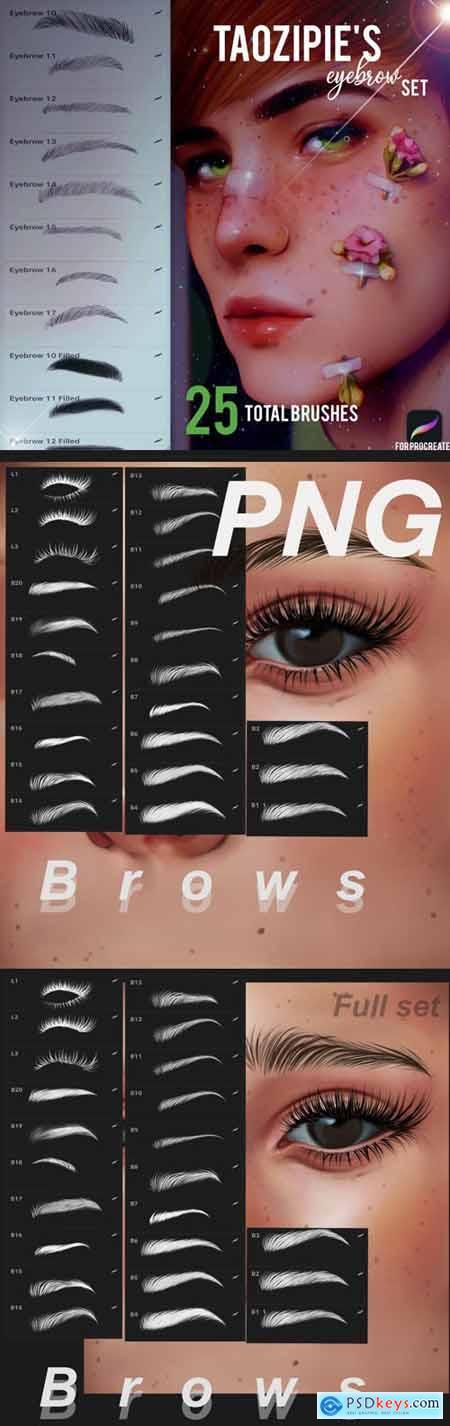 48 Eyebrow Procreate Brush Set + PNGs