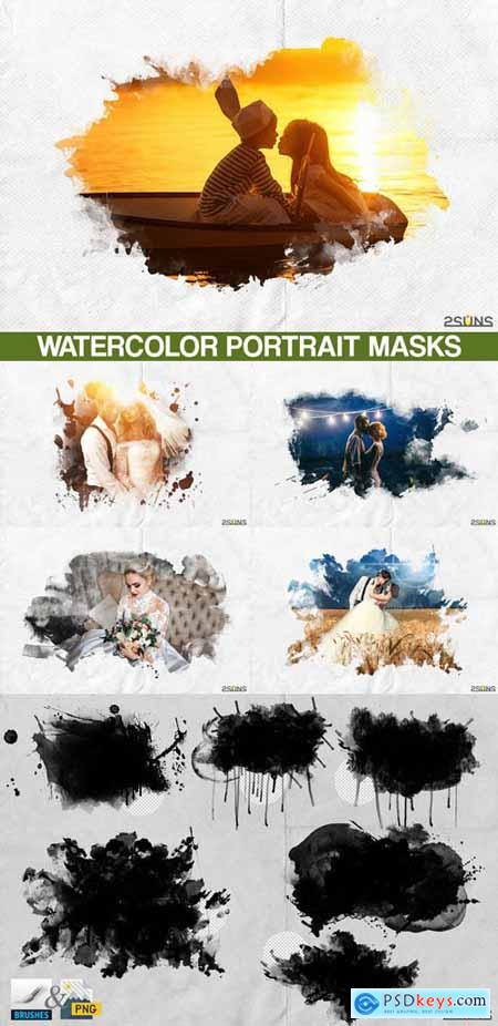 20 Watercolor Portrait Paint Masks, Photo Framse, Photoshop Overlays