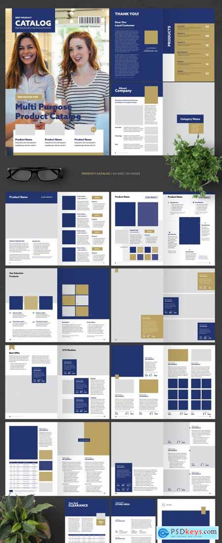 Catalog Layout with Blue Elements 367606913
