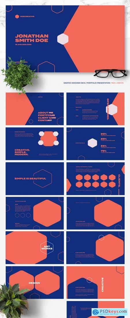 Creative Portfolio Layout with Blue Elements 367606911