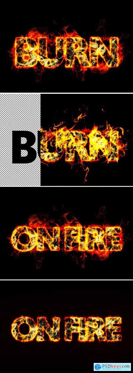 Realistic Burning Fire Text Effect Mockup 367557377