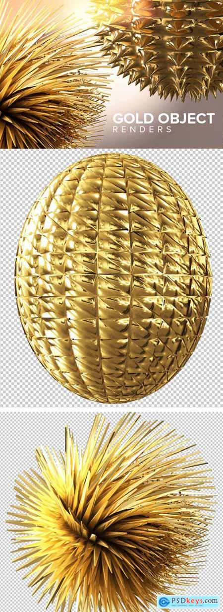 Gold Object 3D Renders PNG