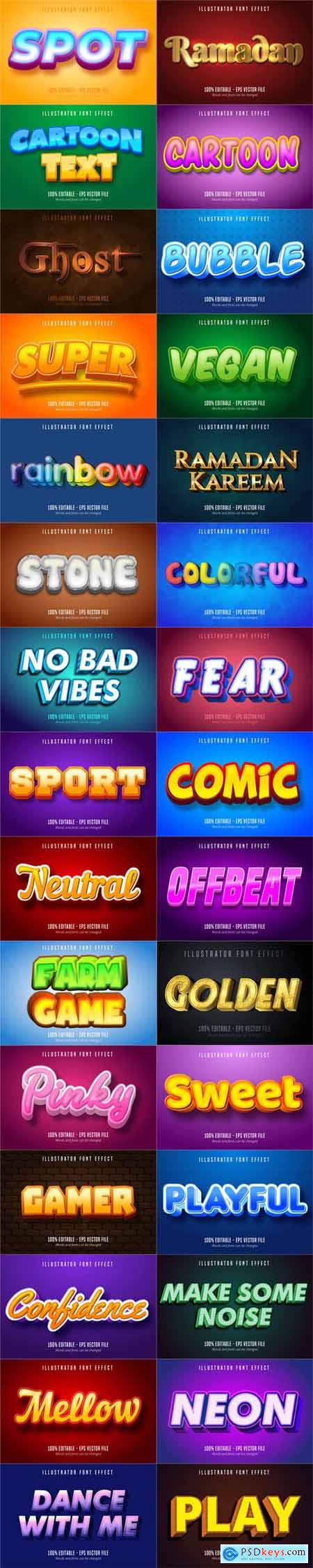 Cartoon Style Font Effect Bundle - 30 Premium Vector Graphics Vol.2