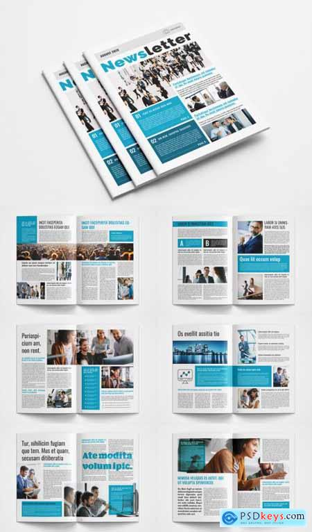 Business Newsletter Layout with Blue Accents 367865126