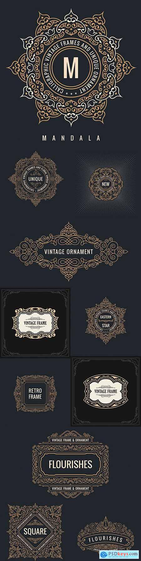 Calligraphic vintage frame and elegant ornament design