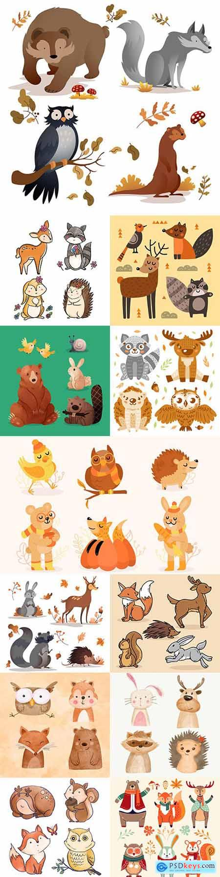 Autumn forest animals painted illustrations collection