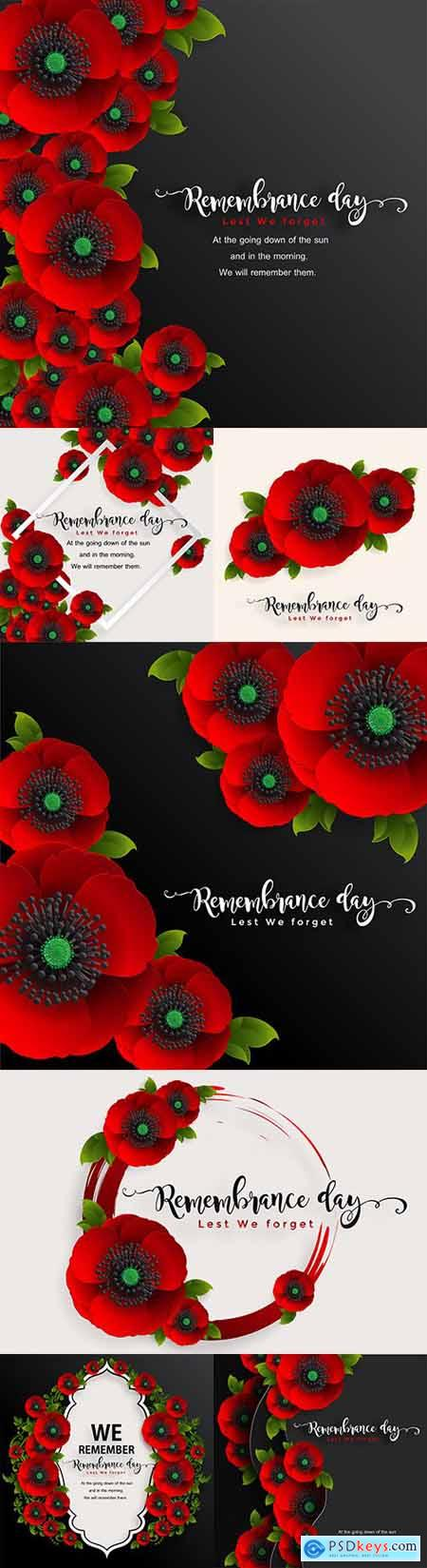 Memorial Day realistic red poppy flower decorative design