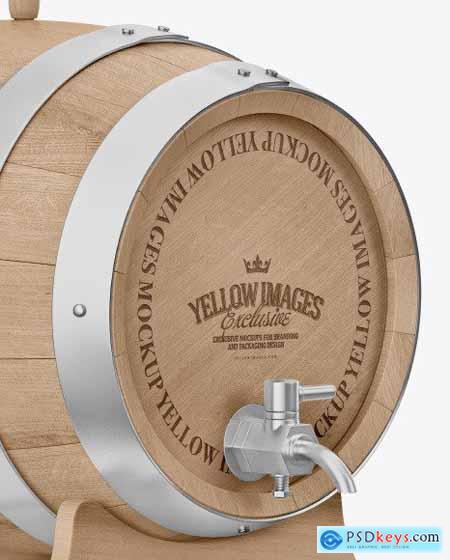 Wooden Barrel on Stand Mockup 64772
