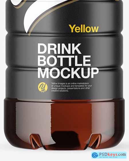 Amber PET Bottle with Sport Cap Mockup 64306