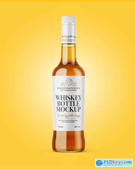 Clear Glass Whiskey Bottle Mockup 64271