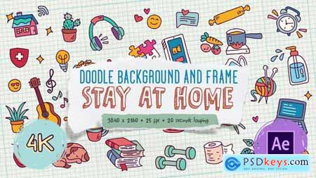 Doodle Background and Frame - Stay At Home 27871985