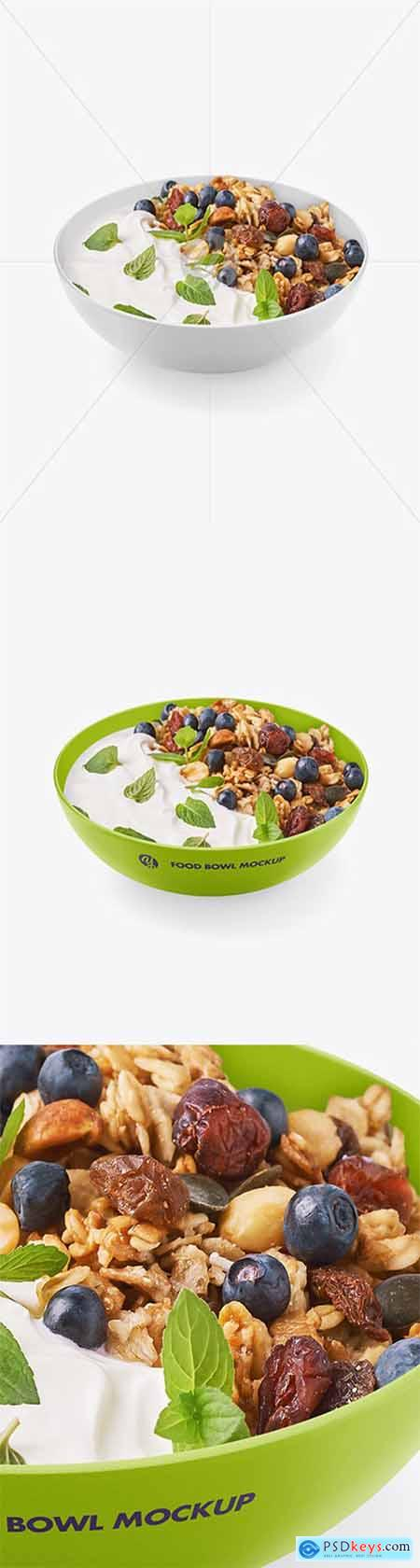 Bowl w- Yogurt and Muesli Mockup 64512