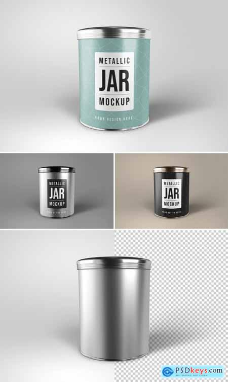 Round Metallic Jar Mockup 368310295