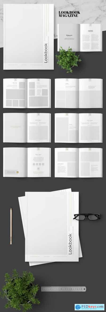 Lookbook Magazine Layout with Gold Accents 242506903