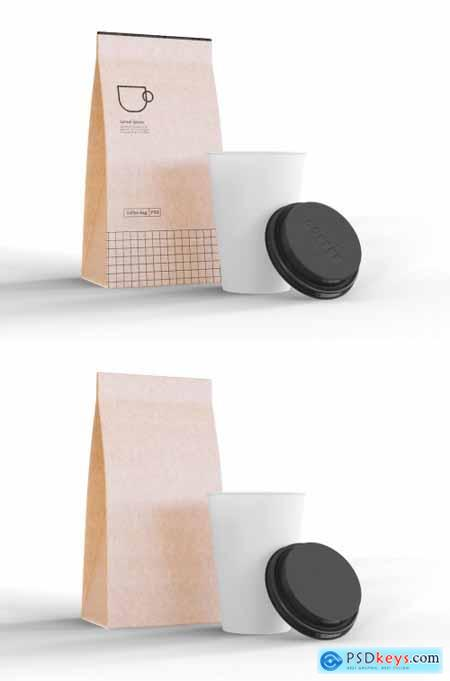Take Away Coffee Cup and Paper Bag Mockup