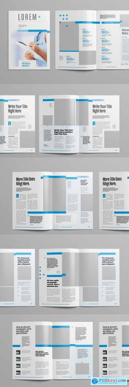 Magazine Layout with Blue Accents and Line Elements 300971614