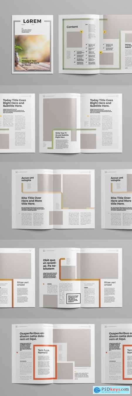 Magazine Layout with Multicolored Line Elements 300971630