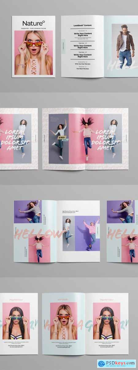 Magazine Layout with Pastel Colors and Brush-Style Text Elements 296137985